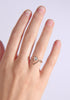 Regular five black diamond triangle ring