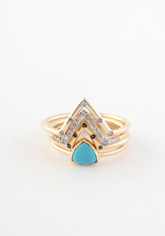 Regular five diamond triangle ring
