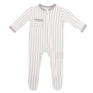 Bamboo Zippered Footie, Storm Stripes