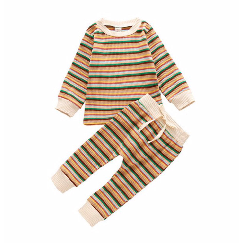 Ribbed Lounge Set, Retro Stripe