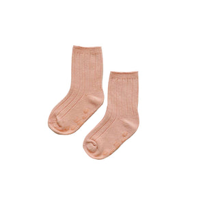 Ribbed Crew Socks, Coral