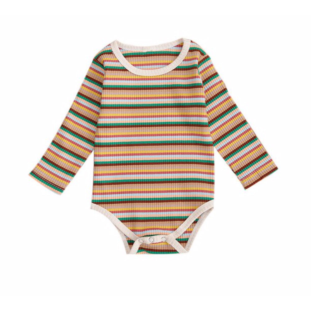 Ribbed Long Sleeve Bodysuit, Retro Stripe