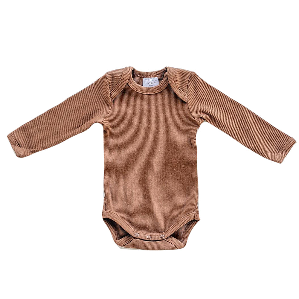 Organic Ribbed Bodysuit, Rusty Brown