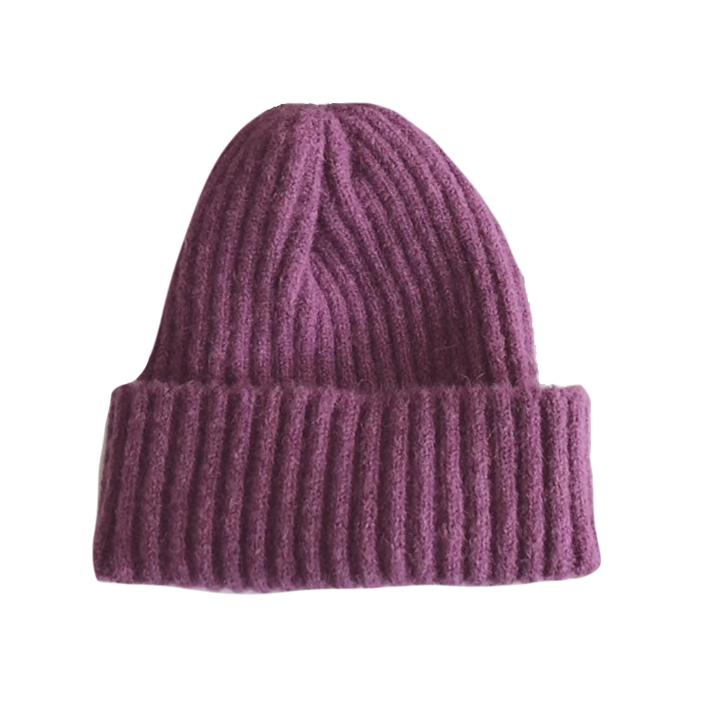 Warm Knitted Beanie, Purple