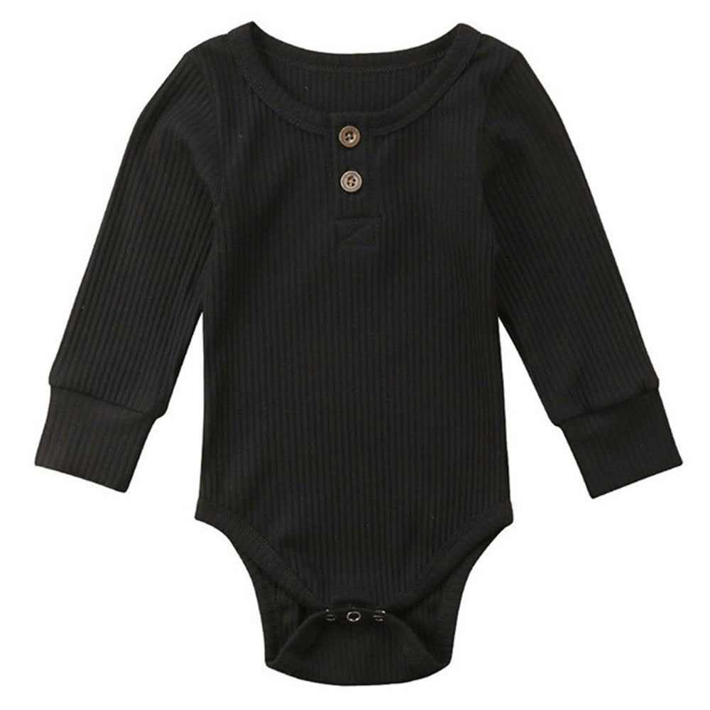 Ribbed Button Bodysuit, Black
