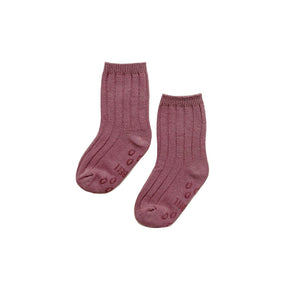 Ribbed Crew Socks, Dusty Orchid