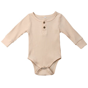 Ribbed Button Bodysuit, Ivory