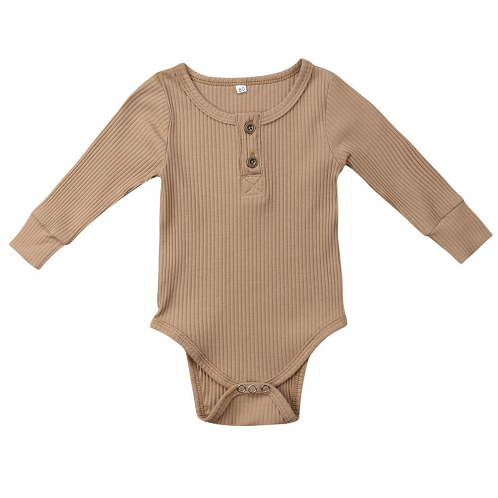 Ribbed Button Bodysuit, Beige