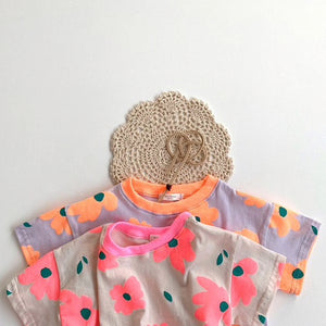 Floral Dream Bodysuit, Neon Pink