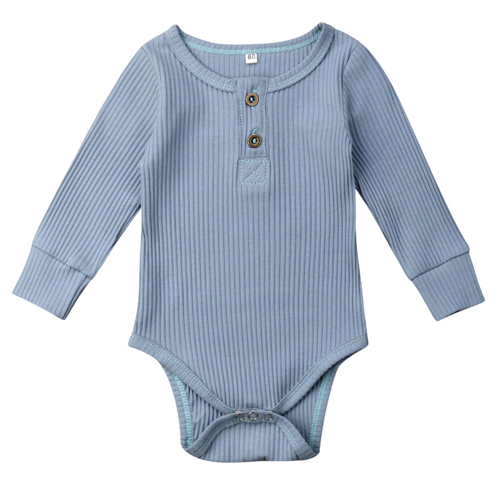 Ribbed Button Bodysuit, Powder Blue