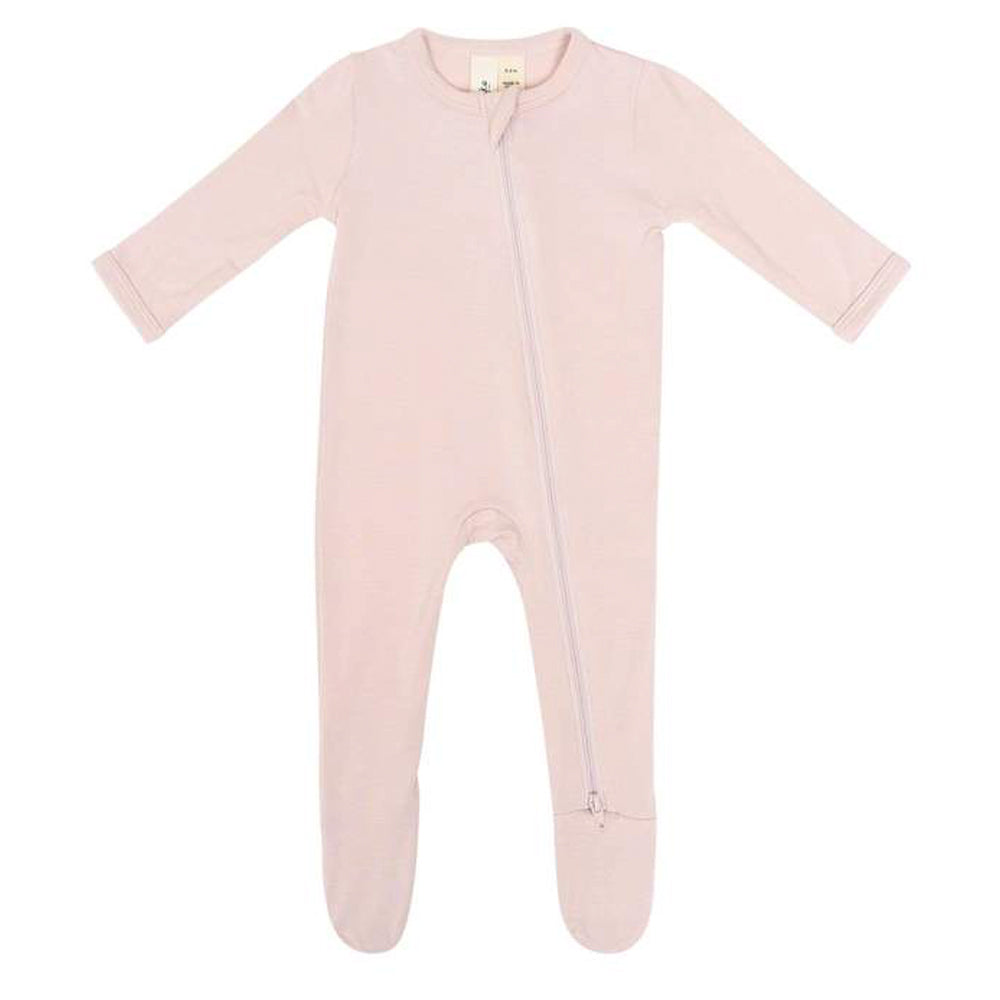 Bamboo Zippered Footie, Blush