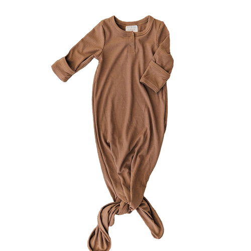 Ribbed Knotted Gown, Cocoa