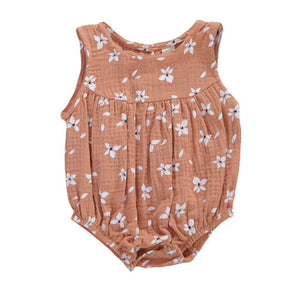Flower Bubble Romper, Dusty Rose