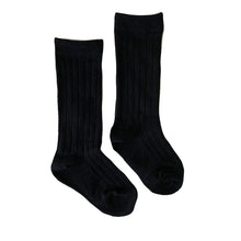 Load image into Gallery viewer, Ribbed Knee High Socks, Black