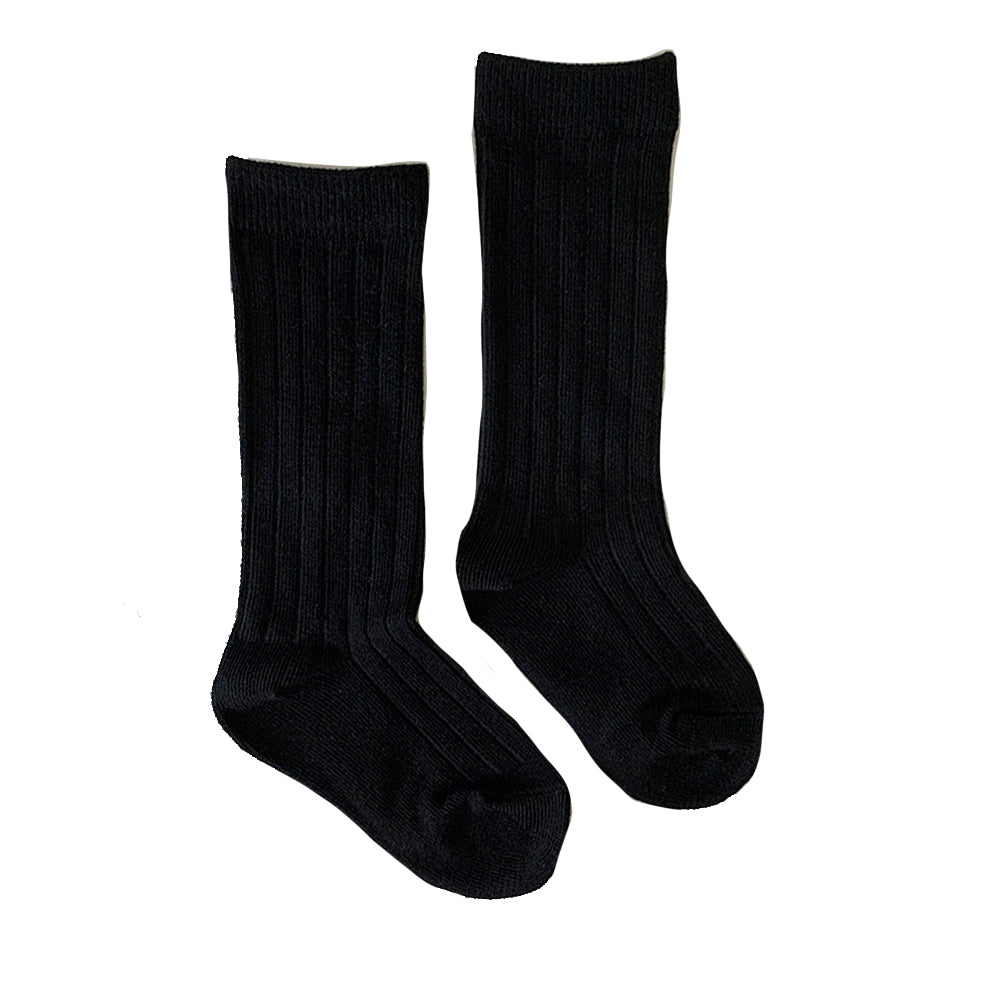 Ribbed Knee High Socks, Black