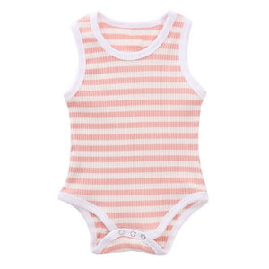 Ribbed Stripe Tank Bodysuit, Blush