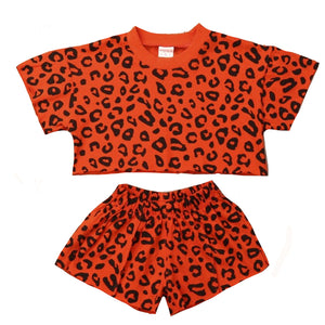 Leopard T-shirt and Short Set, Brick Red