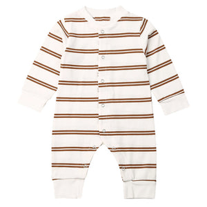 Retro Stripe Romper, Brown