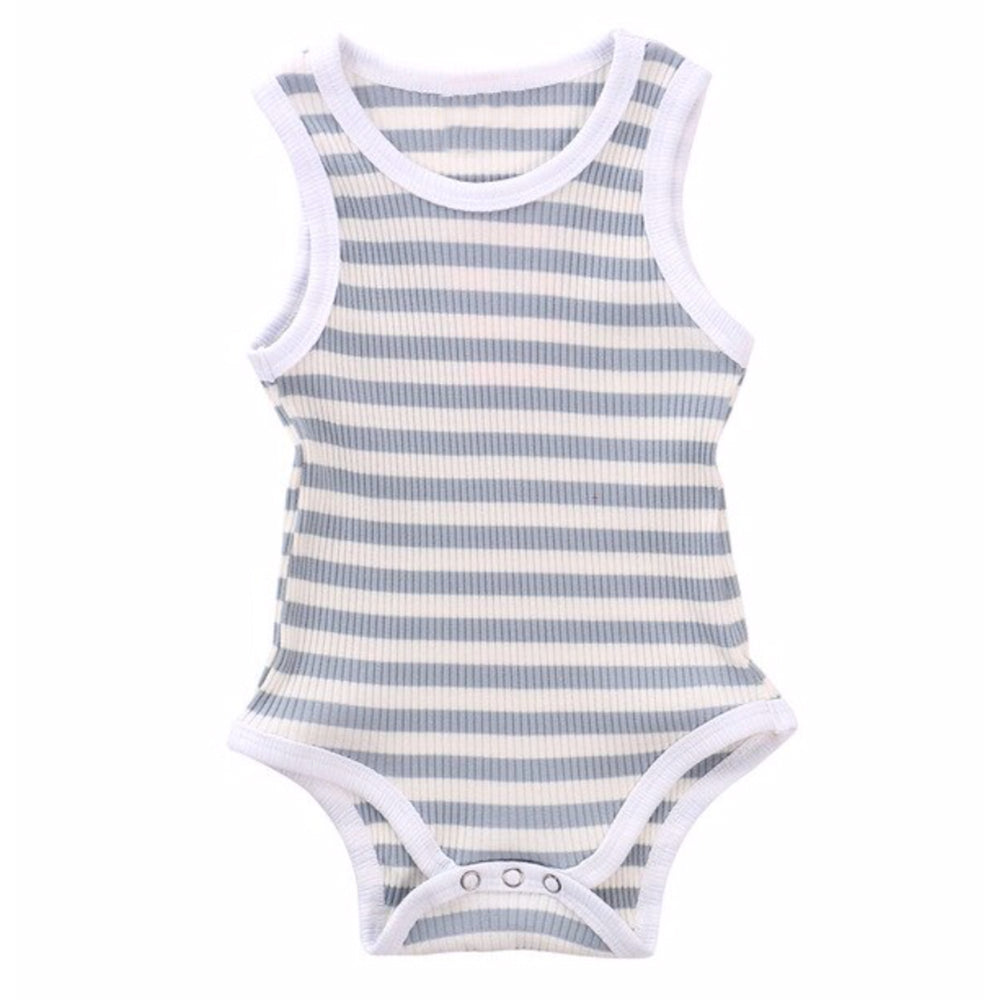 Ribbed Stripe Tank Bodysuit, Pigeon Blue