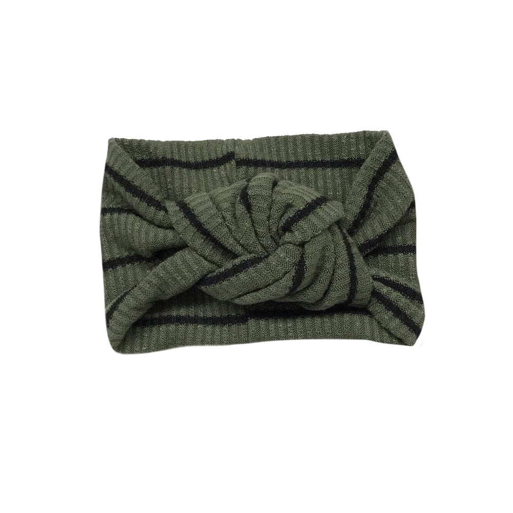 Twist Knot Headband, Sage/Black Stripe
