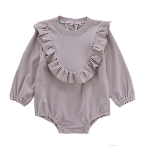 Bowie Ruffle Bodysuit, Light Grey