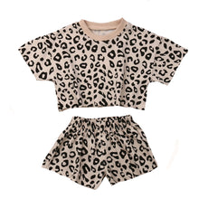 Load image into Gallery viewer, Leopard T-shirt and Short Set, Natural