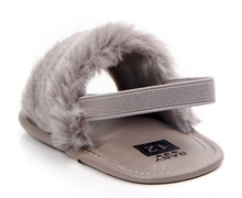 Load image into Gallery viewer, Faux Fur Baby Shoes, Grey