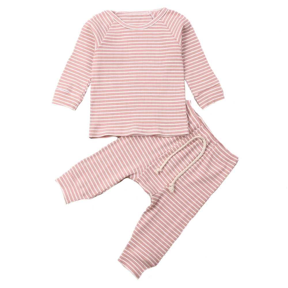 Ribbed Stripe Lounge Set, Blush