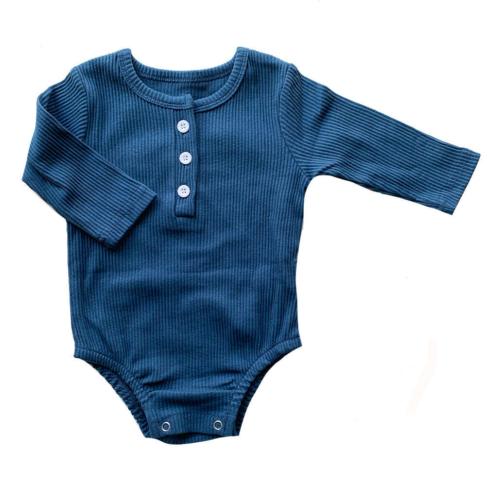 Ribbed Baby Bodysuit, Blue