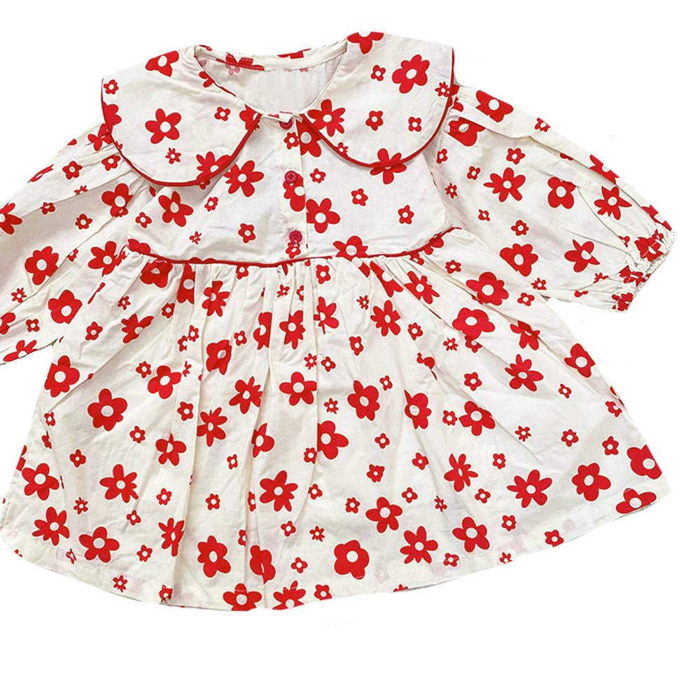 Daisy Peter Pan Dress, Red