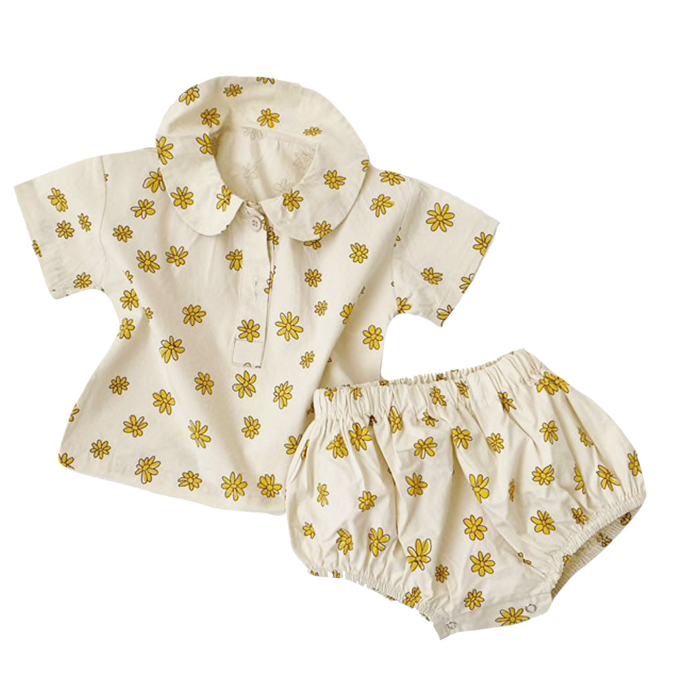 Collared Floral Set, Cream