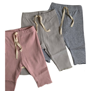 Ribbed Baby Leggings, Stone