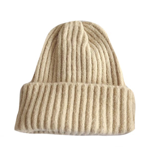 Warm Knitted Beanie, Cream