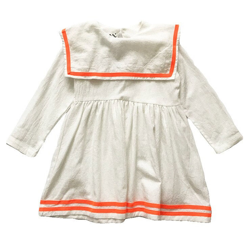 Square Collar Dress, Melon Stripe