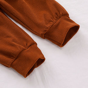 Velour Ribbed Two Piece Set, Chestnut