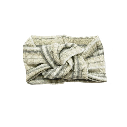 Twist Knot Headband, Multi Grey Stripe