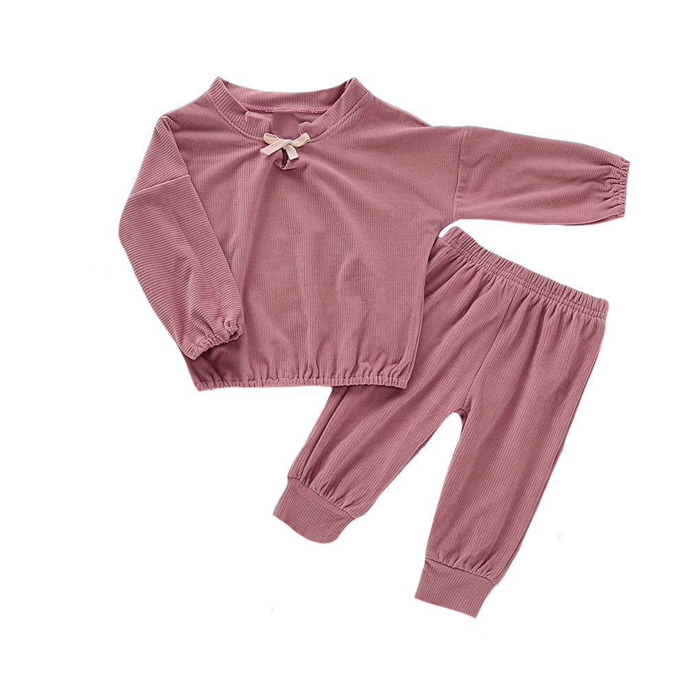 Velour Ribbed Two Piece Set, Thistle