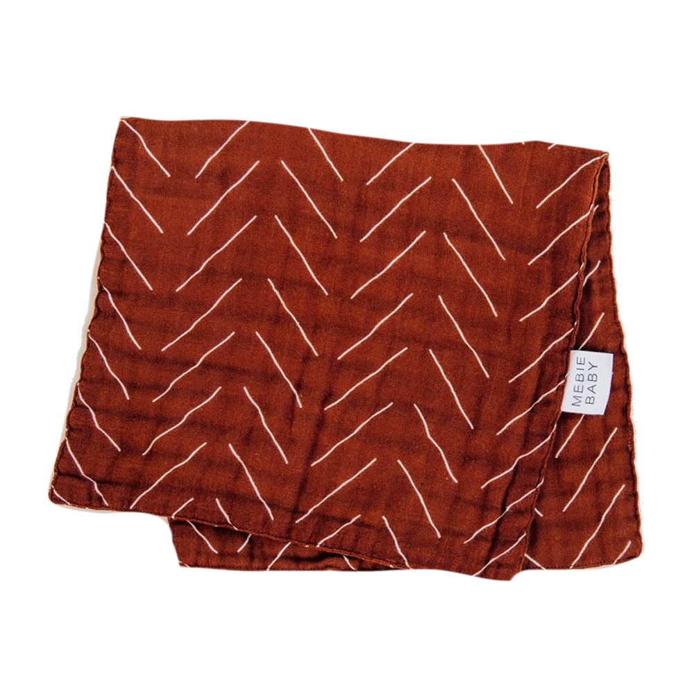 Muslin Burp Cloth, Rust Mudcloth