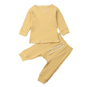Ribbed Stripe Lounge Set, Mustard