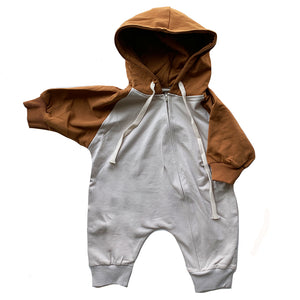 Hooded Zip Jumpsuit, Rust