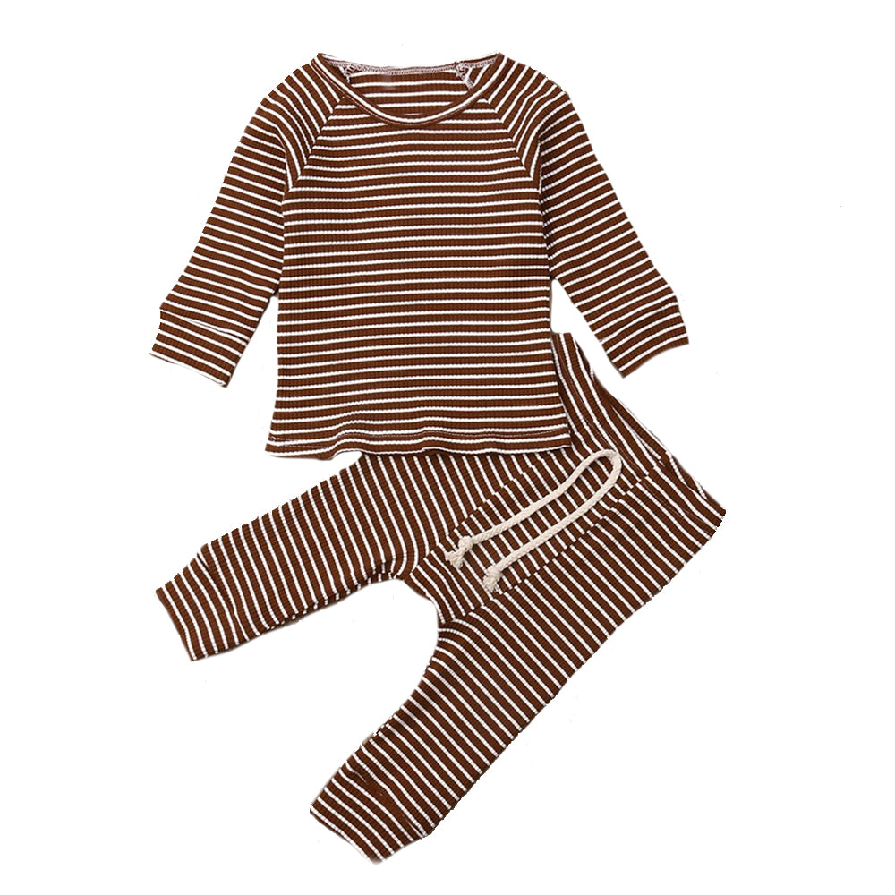 Ribbed Stripe Lounge Set, Rust