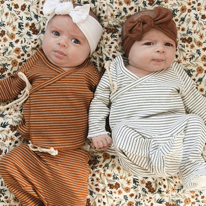 Rust + White Striped Ribbed Cotton Layette Set