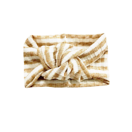 Twist Knot Headband, Caramel & White Stripe