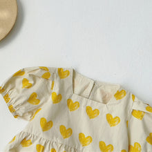 Load image into Gallery viewer, Bubble Romper, Yellow Hearts