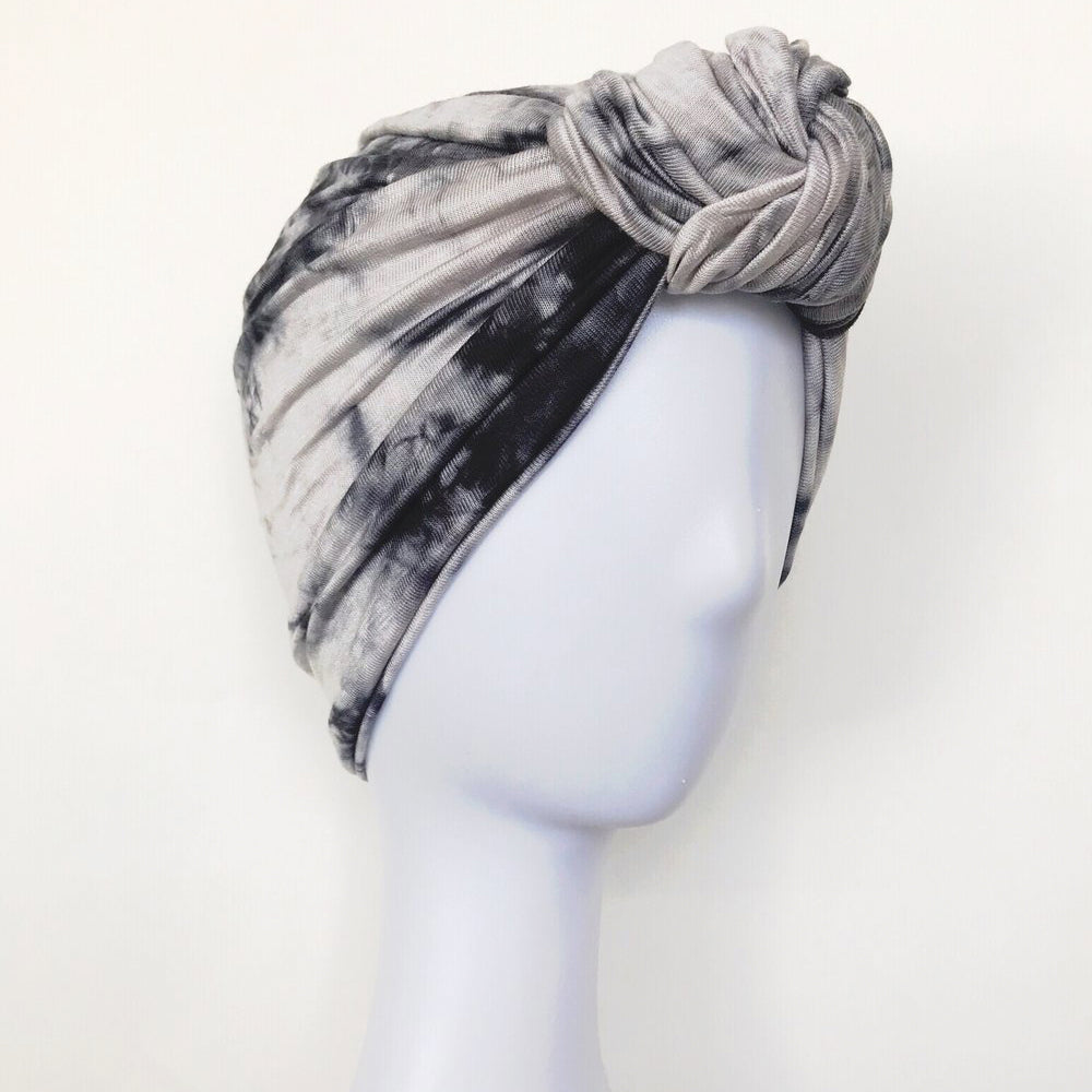 Retro Knot Turban, Ink Tie Dye