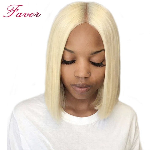 Blonde Brazilian Remy Straight Lace Front Human Hair Wig Short Bob