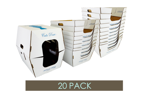 20 PACK • BIODEGRADABLE LITTER BOXES-BONUS 2 free trays- 22 total trays! - Cats Desire Disposable Cat Litter Boxes