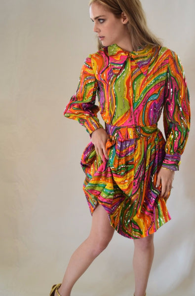 Vintage Marie McCarthy for Larry Aldrich Swirl Party Dress