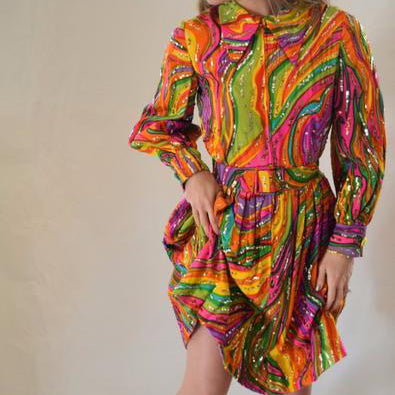 Vintage Marie McCarthy for Larry Aldrich Swirl Party Dress SOLD