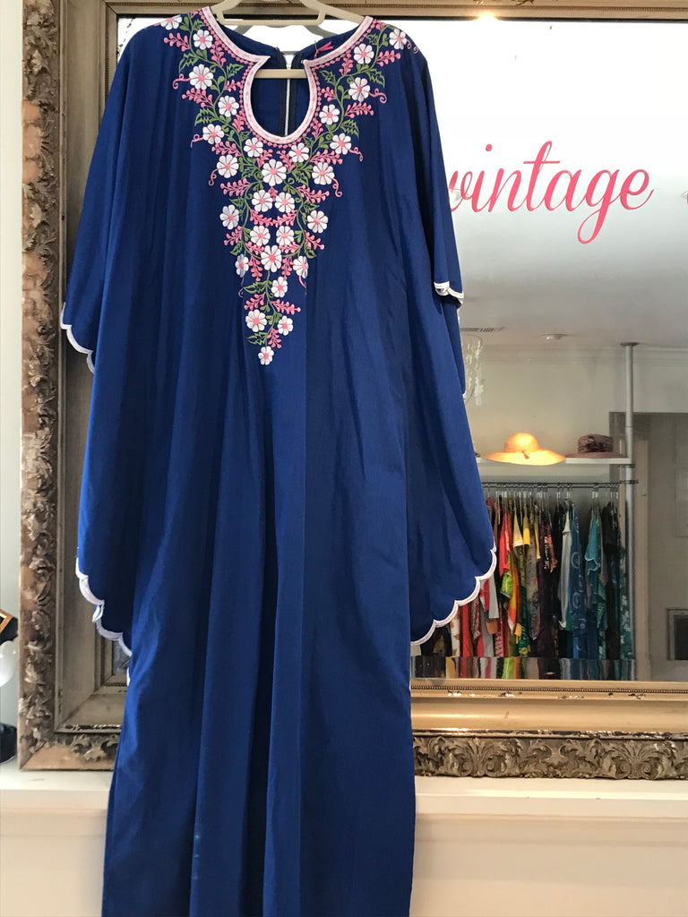 Royal Blue Embroidered Caftan Maxi